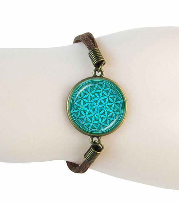 Цветок жизни ювелирные изделия браслет чакра сакральной геометрии браслет стекла кулон зеленый цветок замши кожаный браслет для мужчин браслеты