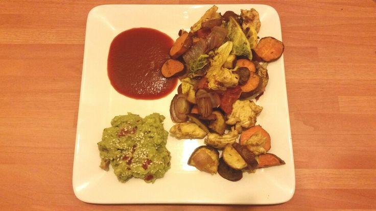 Guacamole with Roasted veges.... sweet  potato,  kumara, red onions,  tomatos, chicken breast, cabbage , avocado,  tomato sauce.