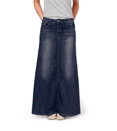 Maxi Denim Skirt in Dark Wash | Long Denim Skirts | Denim Skirts