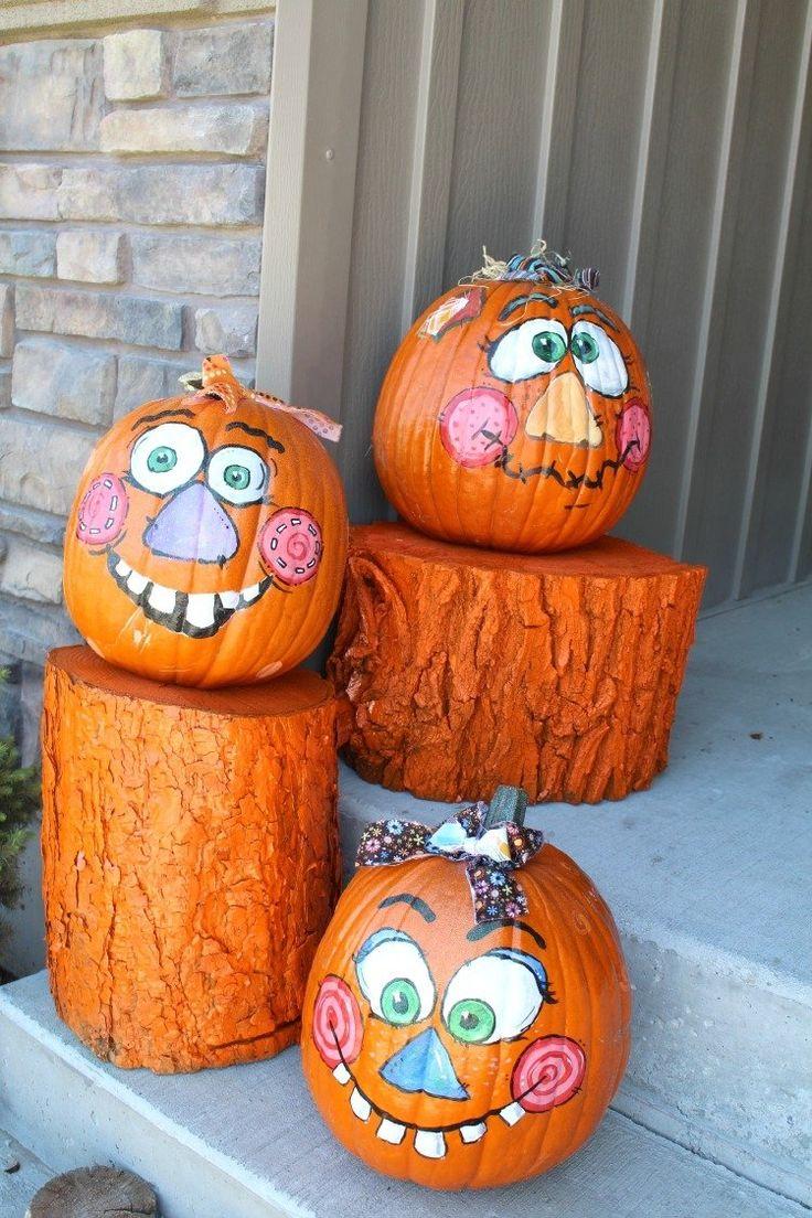 déco citrouille d'Halloween citrouilles peintes orange