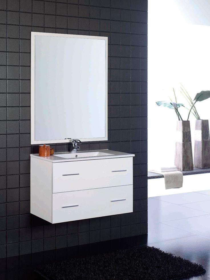 Oferta: Mueble de baño blanco 2 cajones suspendido Incluye lavabo