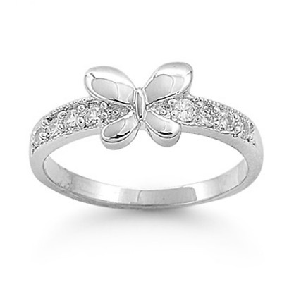 Sterling Silver Butterfly Open Ring with Gift Box for Women Girls cOEvNaG