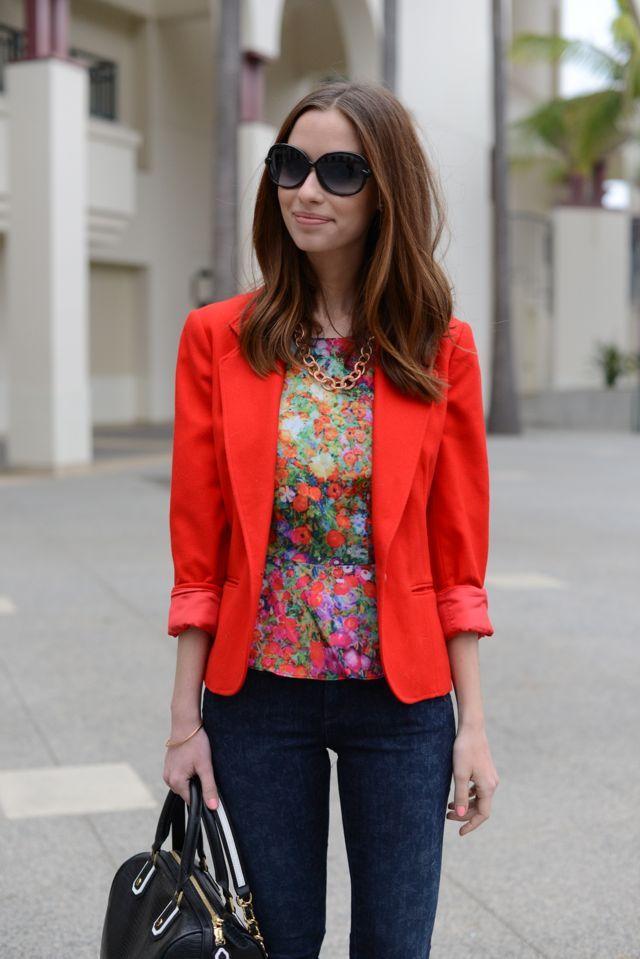 Jacket & Floral Peplum Top..