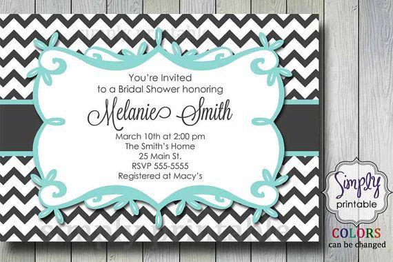 Aqua Chevron Bridal Shower Invitation by simplyprintable on Etsy, $12.00