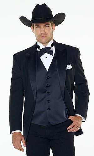 Super sexy cowboy tuxedo!! Love this look so much I may have to rethink wedding colors!!