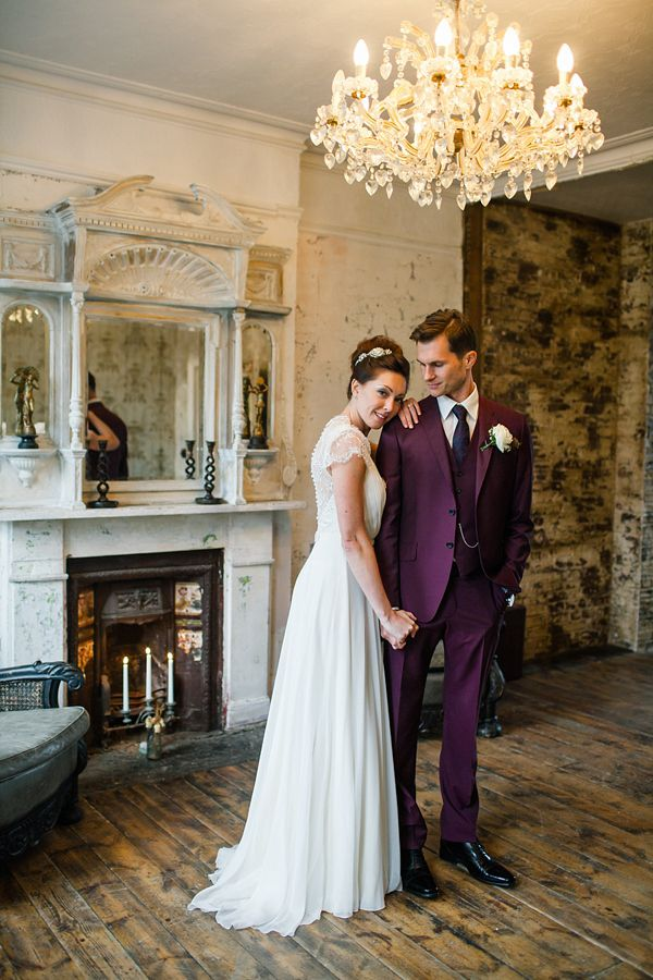 Groom in plum/purple/damson suit from Paul Smith, bride in Dentelle by Jenny Packham.  From 'Jenny Packham, Purple And London Love ~ A Modern Vintage Inspired Hackney Wedding'  Photography by http://www.emmacasephotography.com/