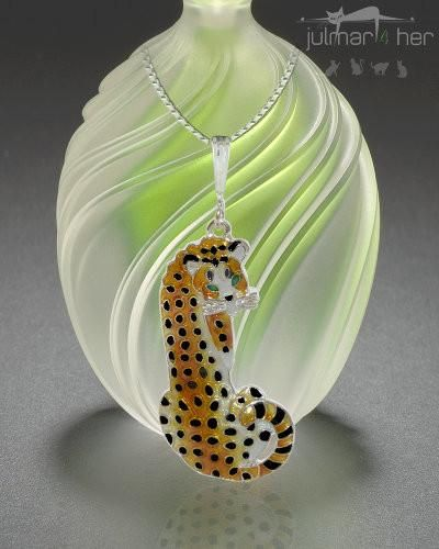 Cheetah Cat Silver Pendant - The African Cheetah is the subject of this exclusively designed pendant by Linda Bolhuis. The artist has captured the look and grace of this big cat with this silver plated pendant that has been beautifully painted with colourful enamels by talented artisans. Show your love of the magnificent Cheetah while wearing this classic and distinctive pendant. Free Express Delivery in Australia