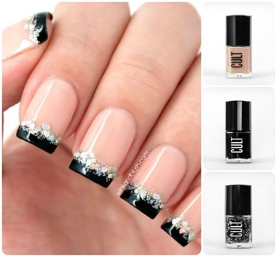 Bold Black French Nail Tips | Follow http://www.pinterest.com/thevioletvixen/bold-nails/ for more bold nail art!
