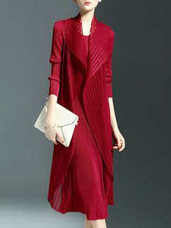 Simple Ribbed Polyester Long Sleeve A-line Midi Dress