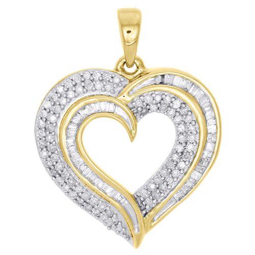 10K Yellow Gold One Row Diamonds Heart Pendant Charm 0.25ct.