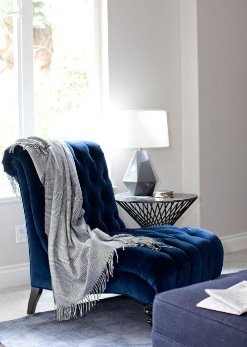 velvet blue tufted chair