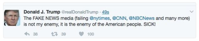 """President Trump, in an extraordinary rebuke of the nation's press organizations, wrote on Twitter on Friday that the nation's news media """"is not my enemy, it is the enemy of the American people.""""  That message was swiftly deleted, but not before being seen by thousands of social media users."""