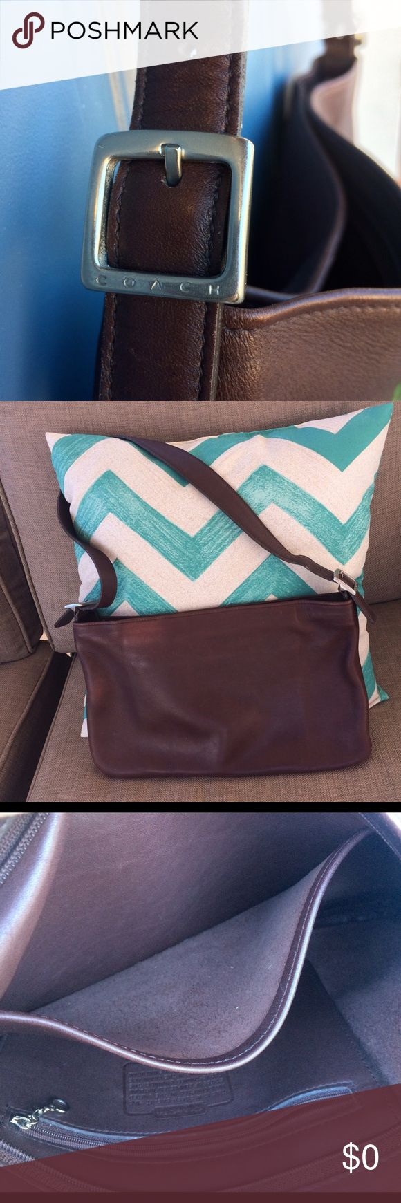Authentic Coach Leather Slim Shoulder Bag Classic Coach leather bag medium to dark brown good to excellent condition. Inside looks brand new. Soft and subtle smooth leather shapes nicely to shoulder and arm😍 Nickel hardware which can be adjusted to shorten strap (shoulder drop). Amazing classic Coach piece for any wardrobe. Coach Bags Shoulder Bags