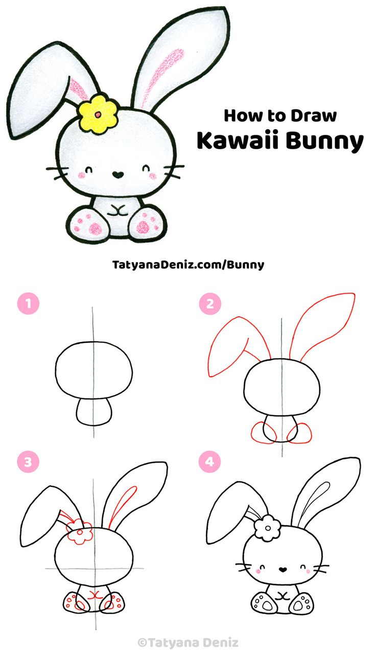 How to draw a cute Easter bunny step-by-step tutorial ...