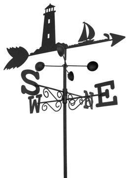 Black Metal Lighthouse and Sailboat Weathervane Garden Stake 5.5 Ft. Tall  garden sculptures