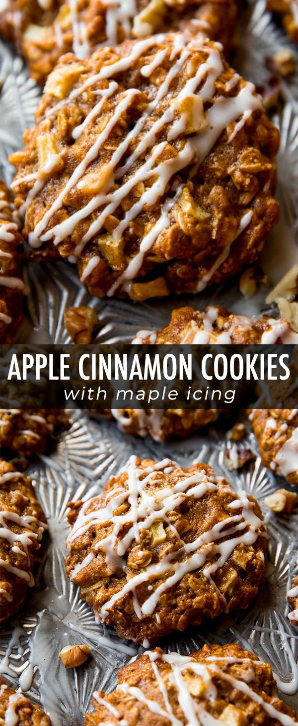 Soft and chewy apple cinnamon oatmeal cookies with…