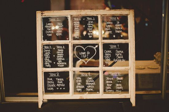 Window Table Plan - write up your seating arrangements on an old sash window pane