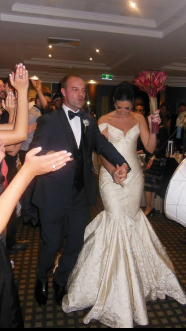 Our beautiful bride Linda wearing her stunning gown of silk Brocade by Steven Khalil