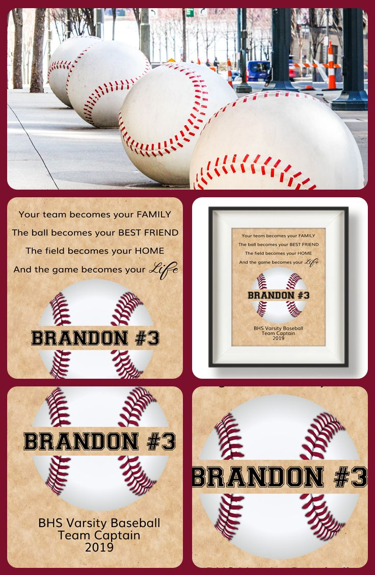 Unique Baseball Senior Gifts! Featuring the player's name and jersey number, team name, Class of 2019, etc.