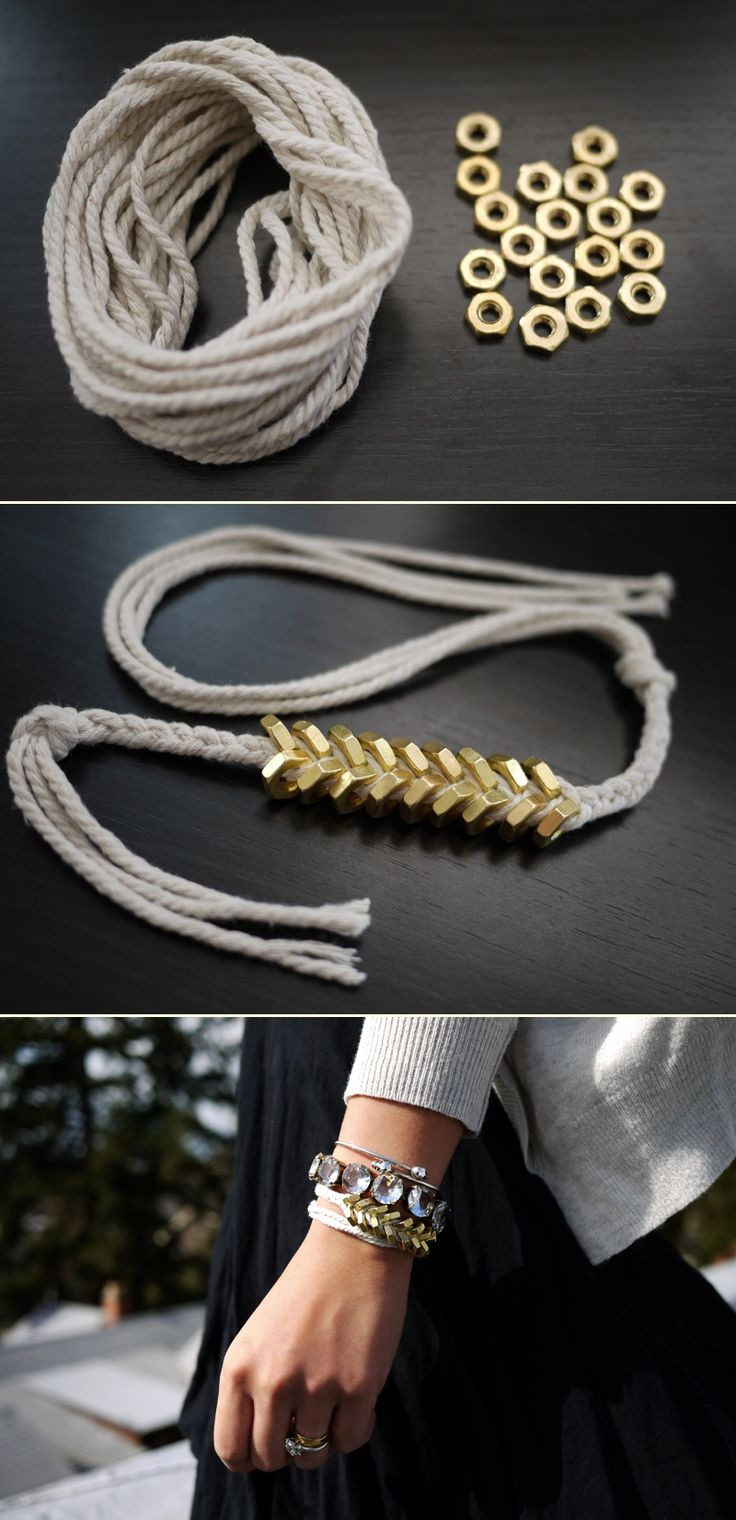 DIY: braided hex nut bracelet.  this was not quite as easy as it looks because they don't show you how to hook it.  we figured it out with a split ring and a hook and the bracelet actually looks very cool. thumbs up.