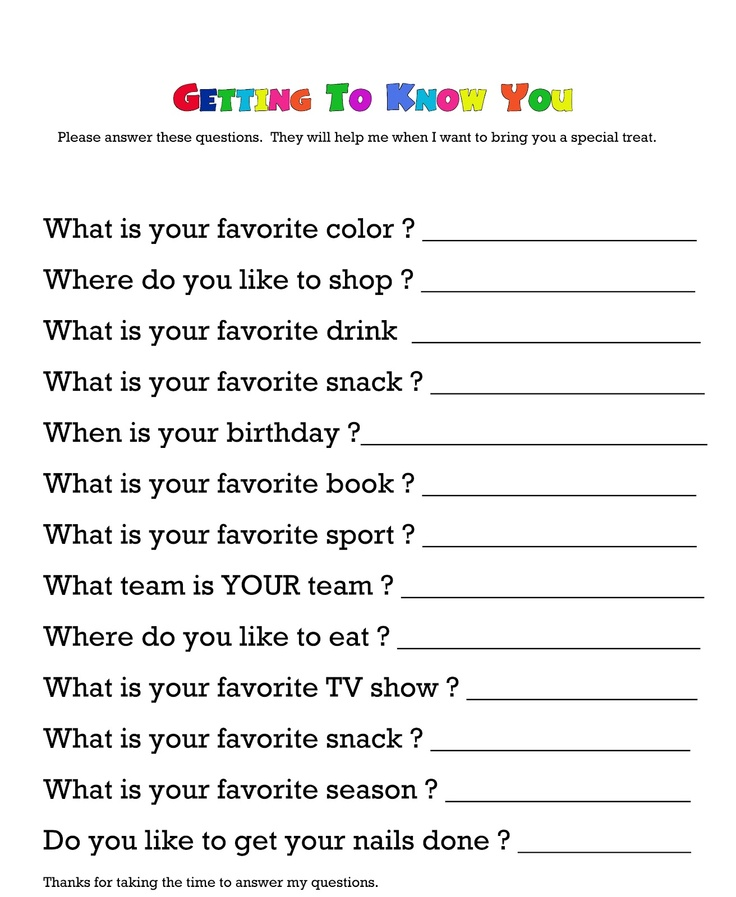 Questionnaire for getting to know your child's teacher. Would teachers really…