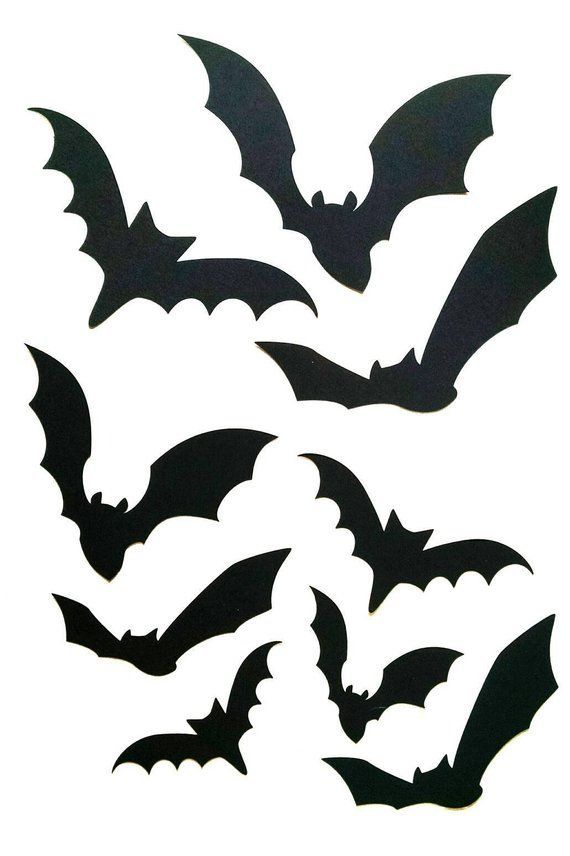 Paper Bat Cutouts 60 Piece Kit, Halloween Silhouette Wall Decor, Cardstock Cutouts Kit, Party Decorations, Bat Silhouette, Paper Wall Decal