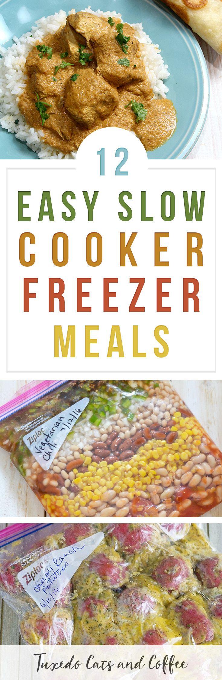 12 Easy Slow Cooker Freezer Meals #freezercooking #freezermeals