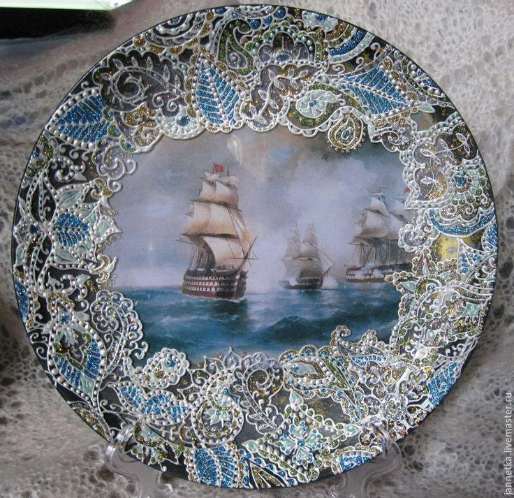 """Купить Декоративная тарелка""""Море"""" - обратный декупаж, Роспись по стеклу, тарелка, декоративная тарелка, подарки"""