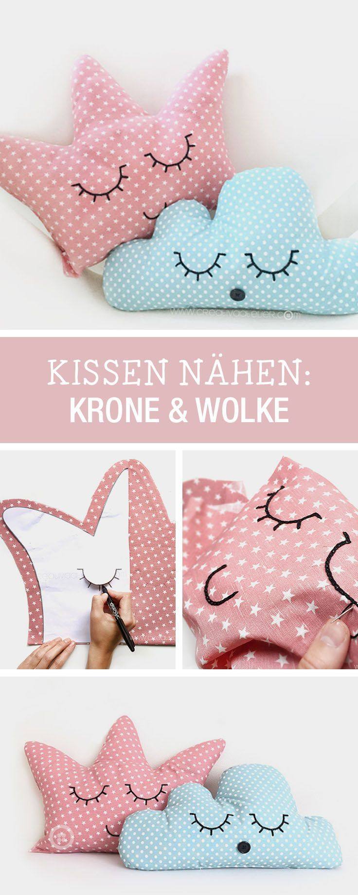 DIY-Anleitung: Kissen als Krone und Wolke für kleine Prinzessinnen nähen, Kinderzimmerdeko / DIY tutorial: sewing pillow as crown and cloud for little princesses, children's room decor via http://DaWanda.com