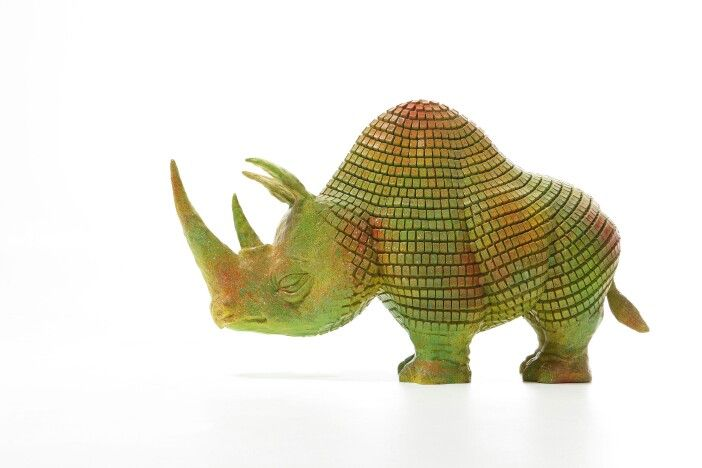 Rhinoceros chameleon out of keyboard keys.