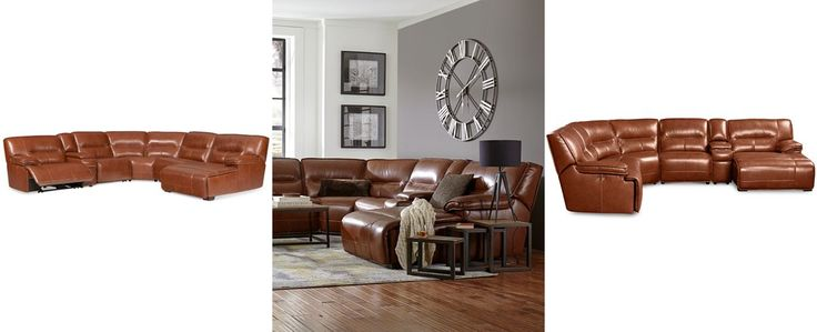 beckett 6 pc leather sectional sofa with chaise and 2 power rh pinterest com