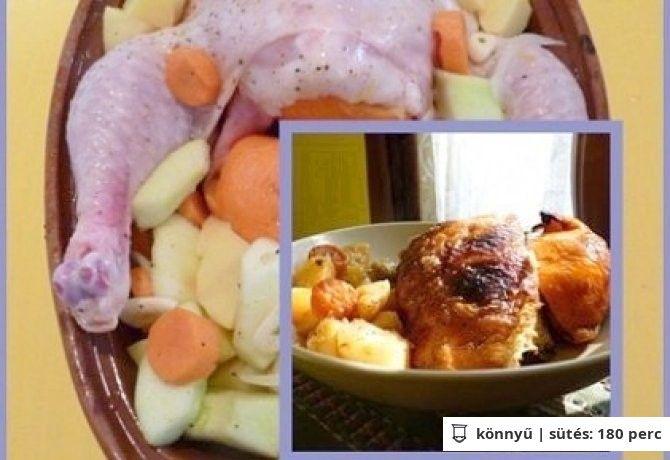 Csirke pataki tálban burgonyával, gyümölcsökkel