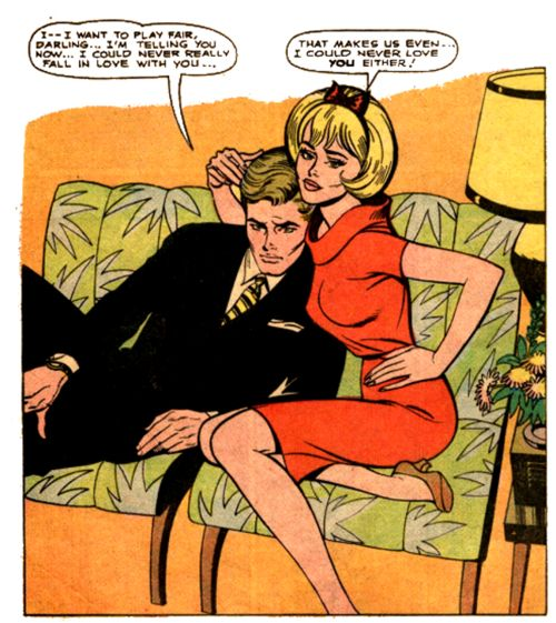 """comic Girls Say..""""That makes us even, I could never love you either! """"   #comic #vintage"""