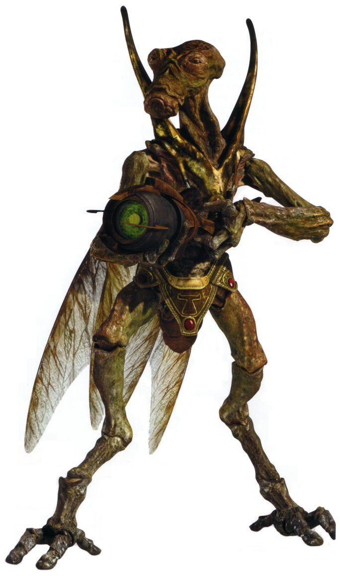 The Geonosian race, often called Geos or bugs in clone trooper slang, was an insectoid species native to the planet Geonosis. Geonosians resided in catacomb-like hive colonies beneath the organic-looking spires.