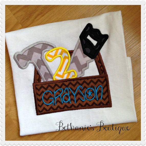 Tool Box Birthday Boys applique shirt- Custom birthday shirt- tools