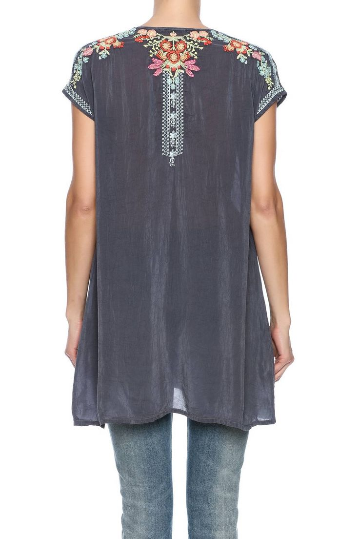 Johnny Was Embroidered Tunic - Back Cropped Image