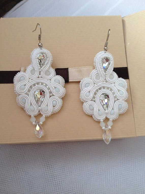 Handmade bridal earrings soutache earrings white by Aroxar on Etsy
