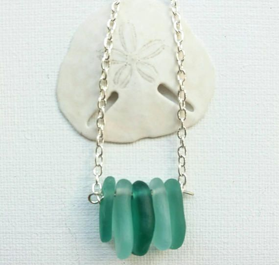 Bar Sea Glass Necklace Seaglass Necklace Beach Glass Necklace