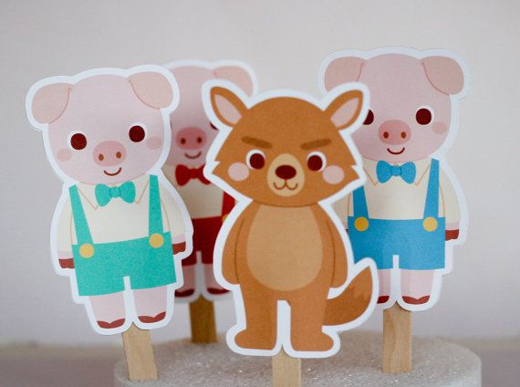 12 Big bad wolf and three little pigs cupcake toppers. three pigs on Etsy, $8.00