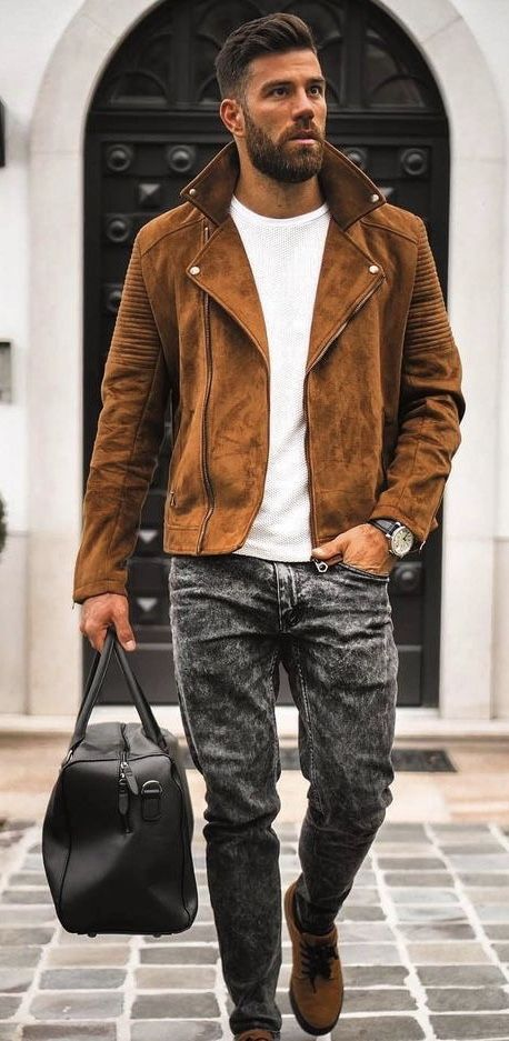 7b855b3e3e Fall suede leather jacket white t-shirt black distressed denim dark brown  leather banded watch black leather duffle bag brown shoes. model unknown.