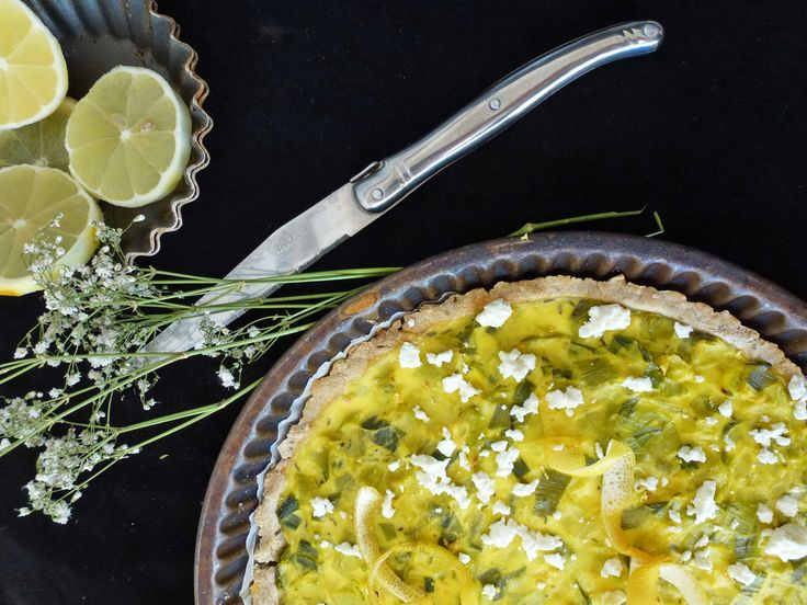 Tarte sans gluten féta poireaux et zestes de citron ...