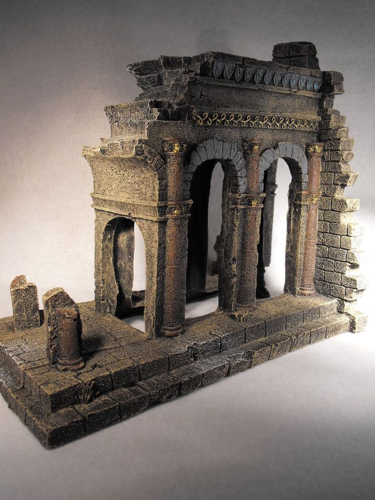 AQUARIUM ORNAMENT ANCIENT TEMPLE RUINS FISH TANK LARGE AQUARIUM DECORATION SIZE 20 CM ( 8 INCHES ) HIGH   BY ( 9 INCHES ) 23 CM WIDE BY 12 CM DEEP