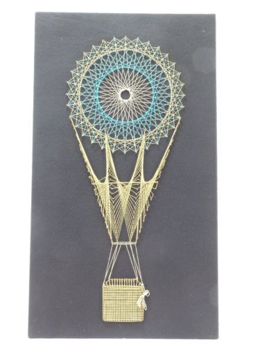 Pin Art String Art Seventies Picture Retro Hot Air Balloon | eBay