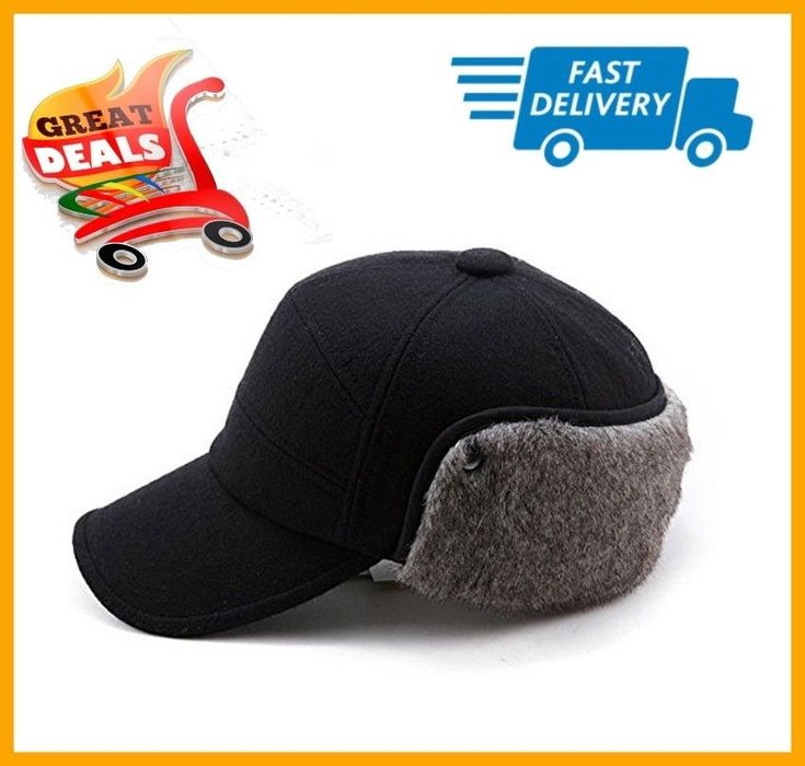 Winter Wool Baseball Cap Earflap Fitted Hats Men Soft Faux Fur Hunting Hat SizeM #SIGGI #Visor
