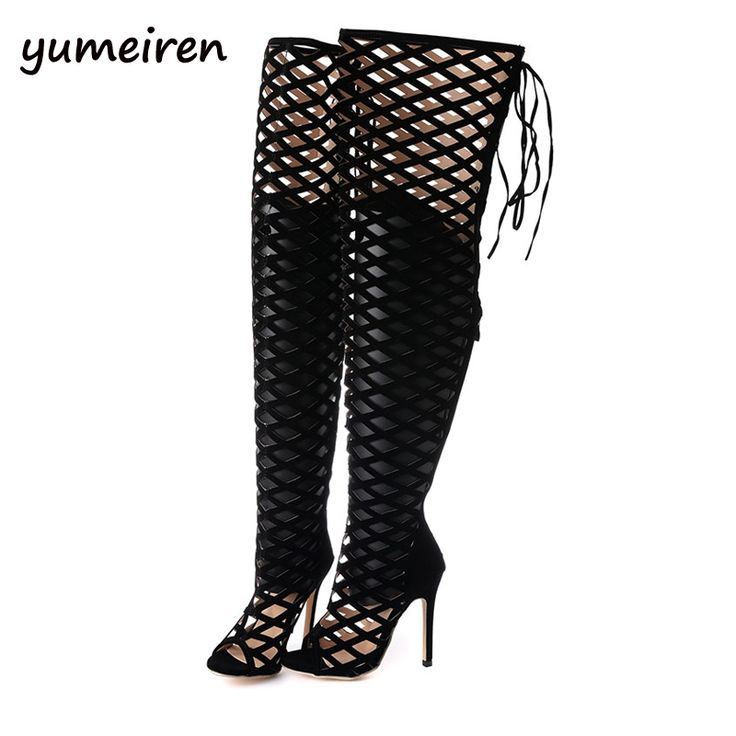 (39.87$)  Buy here - http://aiums.worlditems.win/all/product.php?id=32736018304 - Sexy lace up boots Thigh High Gladiator Sandals Boots Women Peep Toe pumps Over Knee Gladiator Boots High Heel Sandal Boots X112