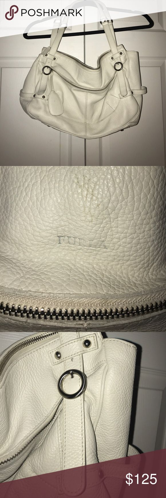 Furla purse Bone colored Furla purse with Silver embellishments. Beautiful bag in great condition. Spot inside bag, picture posted. Furla Bags Totes