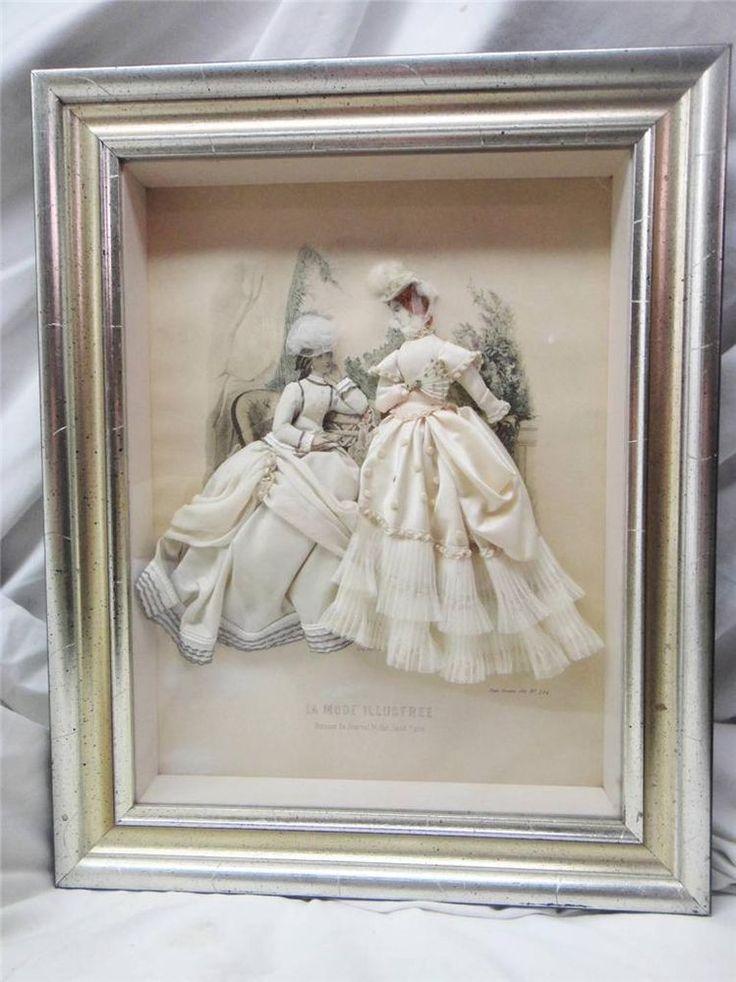 FABRIC EMBELLISHED LA MODE ILLUSTREE GODEY LADIES PARIS SHADOW BOX in Antiques | eBay