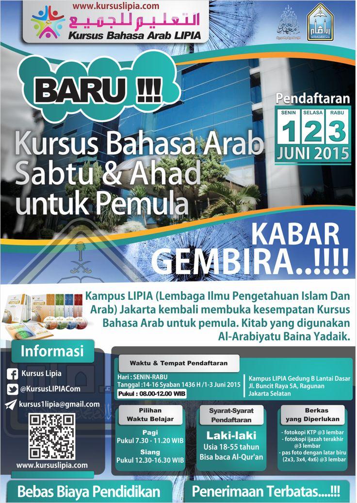 Desain Brosur Kursus Bahasa Arab Sabtu-Ahad LIPIA Jakarta