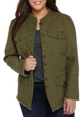 William Rast™ Women's Plus Size Military Jacket - Grape Leaf - 1X