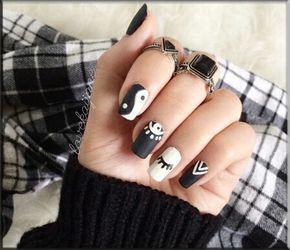 American Manicure Nail-Yin Yan #beautiful Nail #www.ballupdate.net